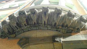 Kiveen kaiverrettuja pöllöjä rivissä.