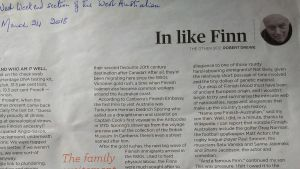 Robert Drewe skrev en kolumn om sitt finska ursprung