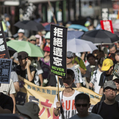 Demonstration för demokrati i Kina inför årsdagen av massakern i Peking.