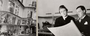 Vasemmalla Suomen paviljonki New Yorkin maailmannäyttelyssä 1939. Oikealla Aino ja Alvar Aalto tutkivat piirustuksia.