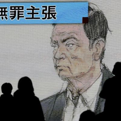 Skuggor av personer framför en ritad domstolsbild av en man.