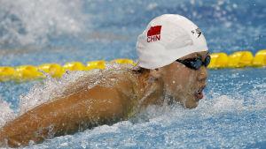Chen Xinyi simmar fjärilsim i de asiatiska mästerskapen 2014.