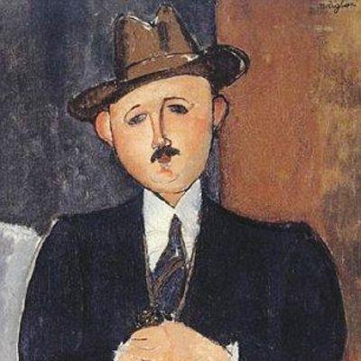 "Amedeo Modiglianin maalaus ""Seated Man With a Cane"" (1918)."