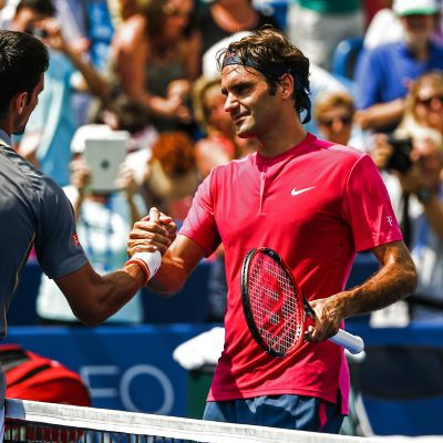 Novak Djokovic ja Roger Federer.