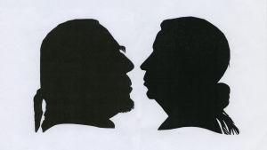Frida och Gunnar Packaléns silhuetter. Gunnars klippt av Frida, Fridas silhuett klippt av Liisa Heiskanen.