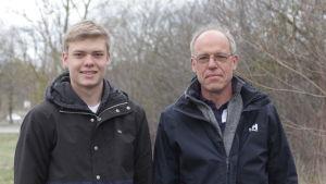 Tobias och Paul Reuter vid blivande skateparken i Pargas
