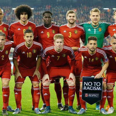 Belgiens fotbollslandslag i matchen mot Israel.