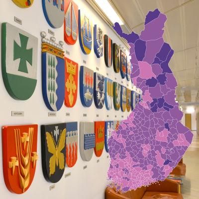 En karta på Finland inklippt framför ett foto på kommunvapen.