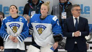 Jenni Hiirikoski, Noora Räty och René Fasel.