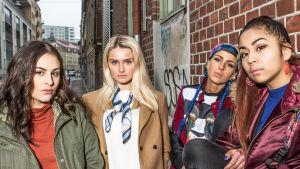 Maryam, Freja, Bim och Aju i svenska serien #hashtag