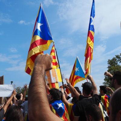Katalanska flaggor och knytnävar i luften under en demonstration i Barcelona