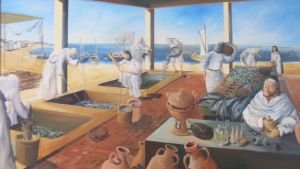 Peinture illustrant l'usine de salaison exposée au musée archéologique de Nabeul