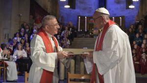 Den lutherska biskopen Munib Younan och påven Franciskus
