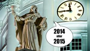 En ängel på domkyrkan i Helsingfors säger 2014 eller 2015