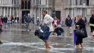 I fjol höstas steg vattnet på St. Markusplatsen med en meter över den normala havsnivån.
