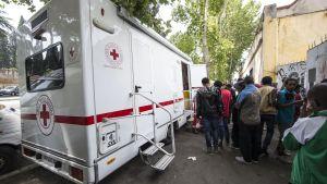 Migranter i Rom köar för att få mathjälp av Röda Korset.