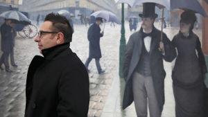 Waldemar Janusczak maalauksen edessä