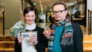 Shortdox 2017 voittaja Nanna Hauge Kristensen ja Hannu Karisto