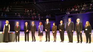 The judges on stage giving out the prizes
