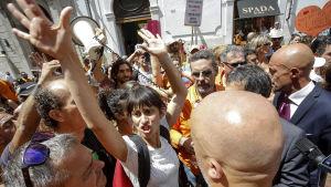 En demonstration mot vaccintvånget i Rom den 28 juli 2017.