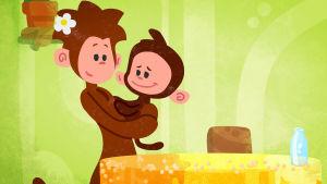 Piirretty apinaäiti apinalapsi sylissään.