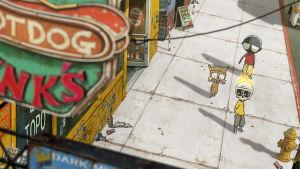 Animaatiohahmoja kävelemässä animoidulla kadulla.