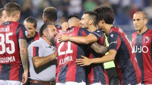 Bologna FC firar ett mål.