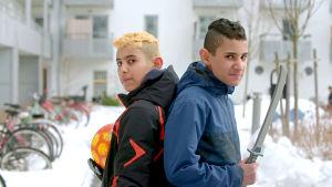 Två av barnen från UR:s serie Superungar.