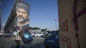 Väggmålning av Diego Maradona i Neapel.