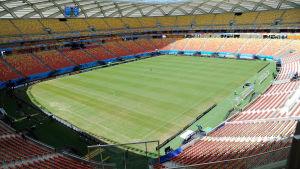 en bild från en nybyggd, tom arena i brasilianska manaus.
