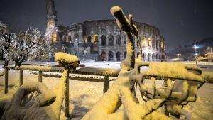 En snötäckt cykel i närheten av Colosseum i Rom.