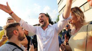 Inrikesminister Matteo Salvini under ett kampanjmöte nära Milano i juni 2018