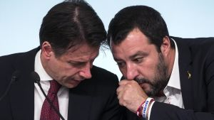 Italiens premiärminister Giuseppe Conte och inrikesminister Matteo Salvini.