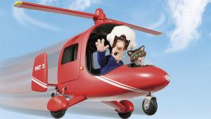 Animaatiohahmo Postimies Pate lentää helikopterilla ja vilkuttaa.
