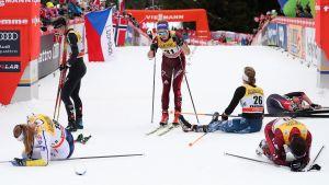 Däckade åkare på Tour de Ski.
