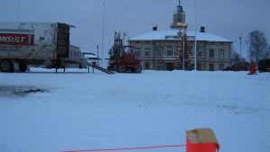 Provborrning för torgparkeringen i Jakobstad
