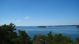 Sommarvy från farleden Åbo-Stockholm vid Innamo