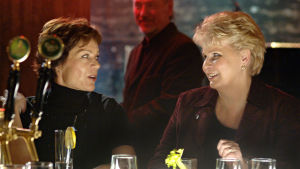 Kotikadun Eeva Mäkimaa (Lena Meriläinen) ja Karin Luotola (Anitta Niemi) viettävät tyttöjen iltaa baarissa.