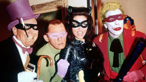 Burgess Meredith, Frank Gorshin, Lee Meriwether ja Cesar Romero sarjassa Batman