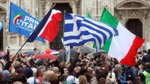 Sammanslutning i Milano till följd av Matteo Salvinis möte för likasinnade partier i EU.