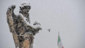 En ängel på bron Stant'Angelo har fått en skrud av snö på sig.
