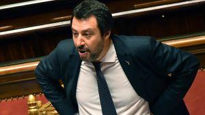 Matteo Salvini talar till den italienska senaten.