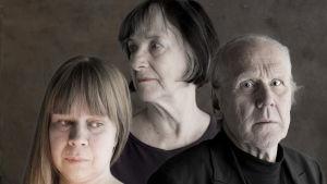 Radioteatteri esittää: Kolme päiväkirjaa. Kuvassa: Maria von Rosen (Katja Kûttner, vas.), Ingrid von Rosen-Bergman (Heidi Krohn) ja Ingmar Bergman (Heikki Nousiainen).
