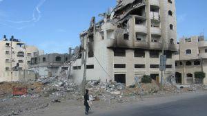 Sönderbombat hus i Gaza