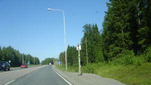 Hastighetskamera vid riksväg 25 i Karis.