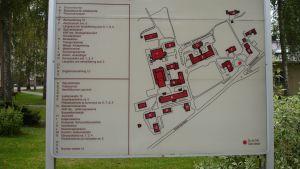 Karta över Ekåsens sjukhusområde i Ekenäs.