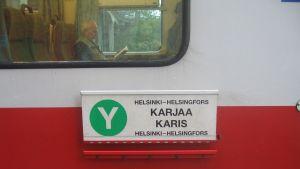 Y-tåget går mellan Karis och Helsingfors
