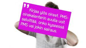 Nainen studiossa, PMS-tekstilainaus.