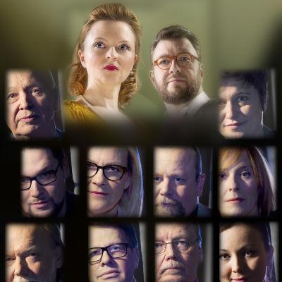 10 kirjaa rikoksesta -sarjan toimittajat Anna Kortelainen ja Timo Harakka sekä vieraat, kuvakollaasi