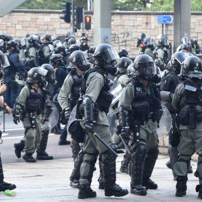 Bild på kravallpolis iklädda uniformer och hjälmar.
